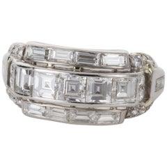 Art Deco 3.11 Carat Carre Cut Diamond and Platinum Band Ring