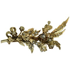 Antique Ottoman Gold and Rose Diamonds Brooch, 19th Century