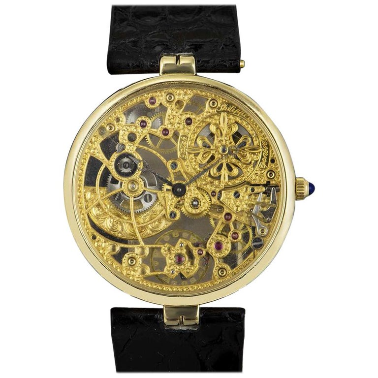 Patek Philippe Very Rare Gold Skeleton Dial 3878J Automatic Watch For Sale