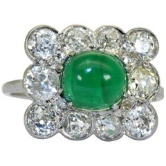 Imperial Russian Emerald and Diamond Ring