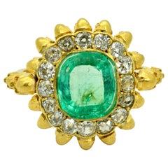 Victorian Gold Diamond and Emerald Memento Mori Ring
