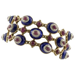 White Diamonds Rubies Lapis Rose Gold Link Bracelet