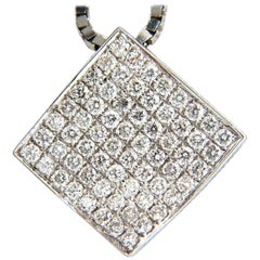 1.40 Carat Diamonds Bead Set Square Zen Pendant 3D Curve 14 Karat Chain