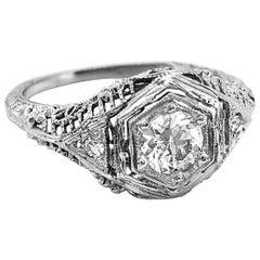 Art Deco Antique Engagement Ring .50 Carat Diamond 18 Karat White Gold