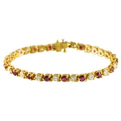7.50 Carat Ruby and Diamond 18 Karat Yellow Gold Line Tennis Bracelet