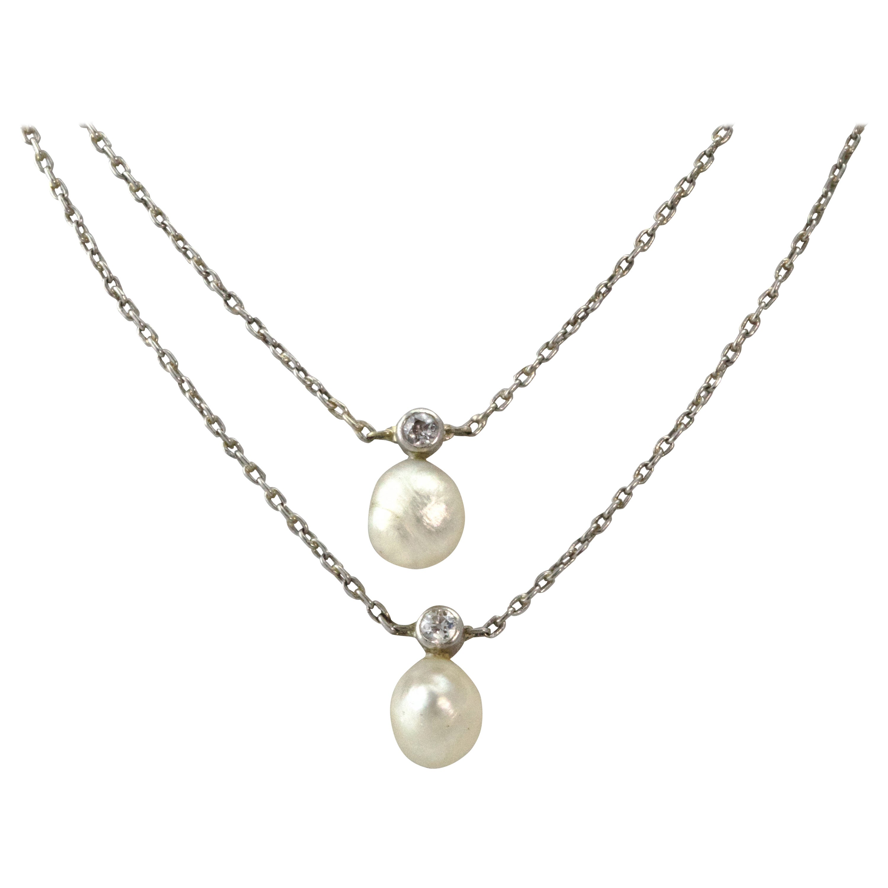 Edwardian Platinum Diamond and Pearl Double Strand Necklace