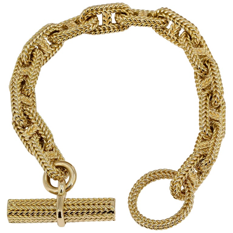 Hermès George L'Enfant Yellow Gold Chaine D' Ancre Tresse Braided Link Bracelet
