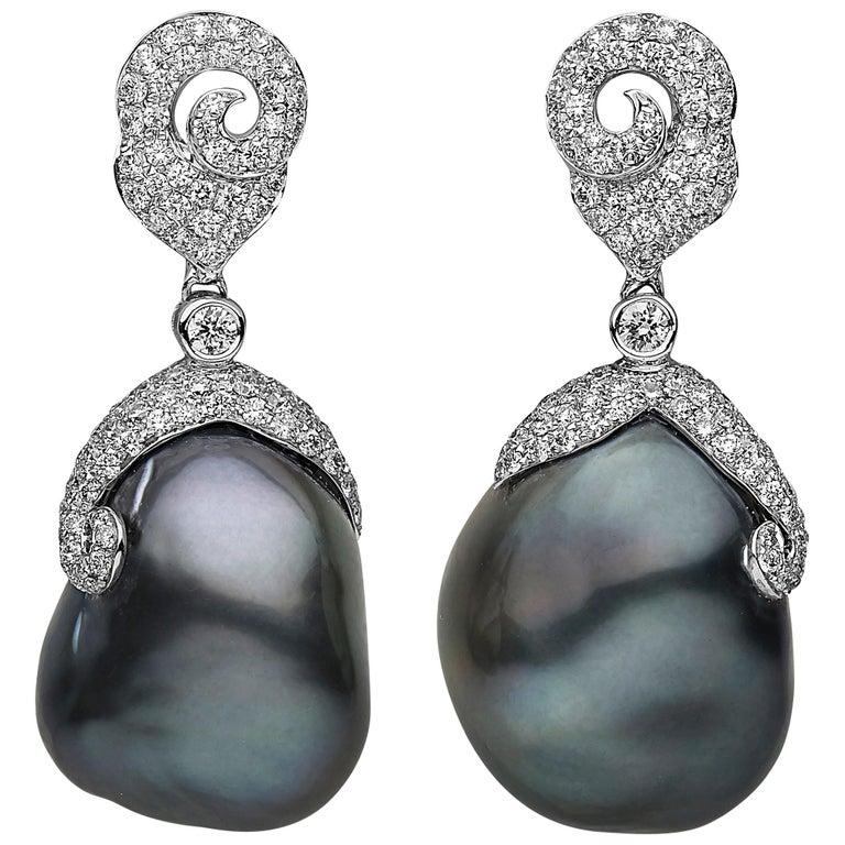 Yoko London Baroque Tahitian Pearl and Diamond Drop Earrings in 18 Karat Gold