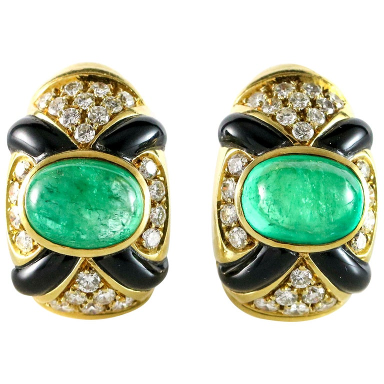 9.80 Emerald Diamond and Black Onyx 18 Karat Yellow Gold Clip-On Earrings