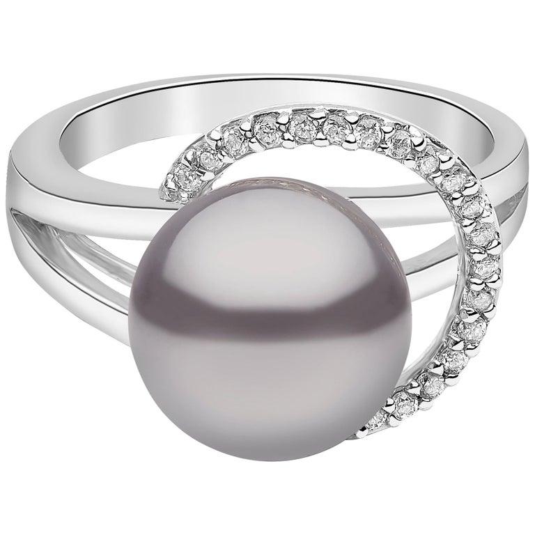 Yoko London Tahitian Pearl and Diamond Ring Set in 18 Karat White Gold For Sale