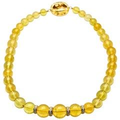 2.00 Carat Diamonds 18 Karat Yellow Gold Graduated Beryl Bead Necklace
