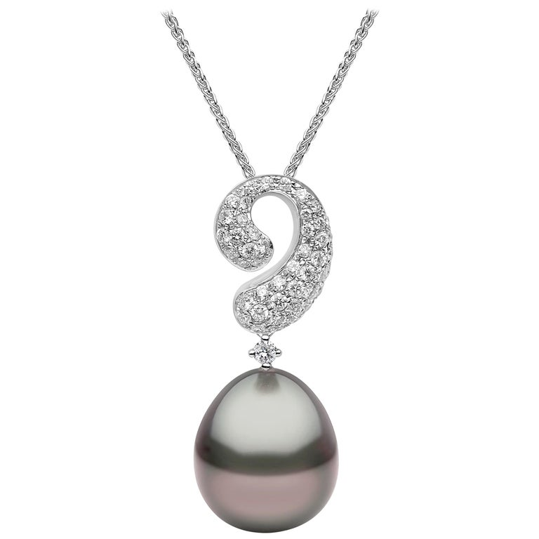 Yoko London Tahitian Pearl and Diamond Pendant Set in 18 Karat White Gold