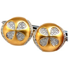.60 Carat Round Natural Diamond Brush Finish Clover Clip Earrings 18 Karat