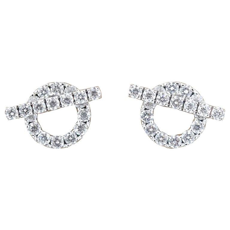 Hermès Diamond and 18 Karat White Gold Toggle Shaped Earrings