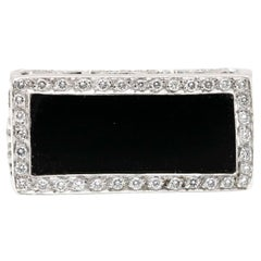 Rectangular Black Onyx 18 Karat White Gold Ring with Diamonds