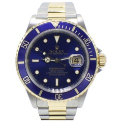 Rolex Submariner Blue 16613 18 Karat Gold through and Stainless Steel Mint