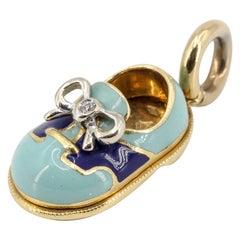 Basha Diamond Enamel and 18 Karat Gold Baby Boy Shoe Charm