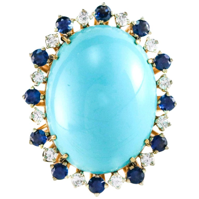 Sapphire and Diamond 18 Karat Yellow Gold Oval Turquoise Cocktail Ring