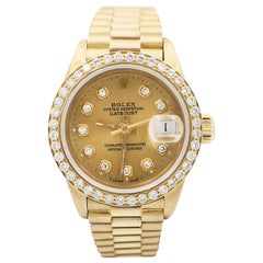 Rolex Ladies President 6917 Diamond Dial Diamond Bezel 18 Karat Yellow Gold
