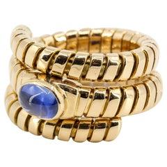 Bulgari Tubogas Blue Sapphire and 18 Karat Yellow Gold Flexible Coil Ring