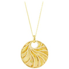 Frederic Sage Large Yellow Mother-of-Pearl and Diamond Pendant with Chain