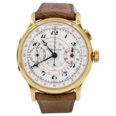 Zenith Yellow Gold Single Button Chronograph Manual wind Wristwatch
