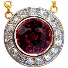 4.30 Carat Natural Pink Tourmaline Diamond Necklace 14 Karat