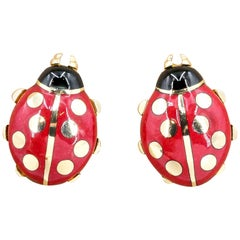 Cartier 18 Karat Yellow Gold and Enamel Ladybug Earrings