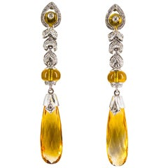 18.00 Carat Citrine 0.30 Carat White Diamond White Gold Drop Stud Earrings