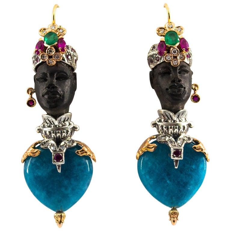 "White Diamond Ruby Emerald Agate Ebony Yellow Gold ""Moor of Venice"" Earrings"