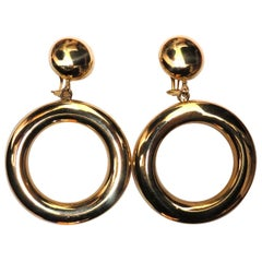 14 Karat Circle Dangle and Top Button Clip Earrings