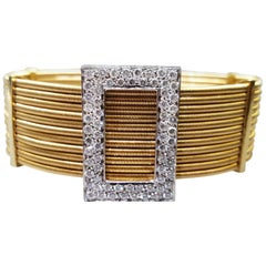Gold Wire Diamond Cuff Bracelet