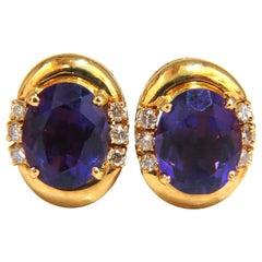 5.06 Carat Natural Amethyst Diamonds Clip Earrings 18 Karat