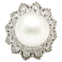 Cultured Pearl and Diamond 18 Karat White Gold Cocktail Ring