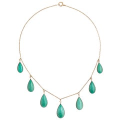 Victorian 14 Karat Yellow Gold Persian Turquoise Tear Drop Necklace