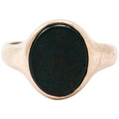 Men's Yellow Gold English Art Deco Bloodstone Signet Ring