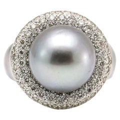 Tahitian Pearl 18 Karat White Gold Diamond Cocktail Ring