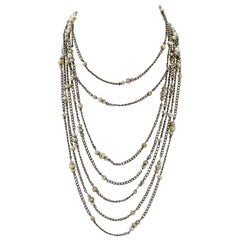 Platinum and Pearl Long Guard Art Deco Chain