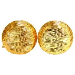18 Karat 3D Textured Gold Cufflinks