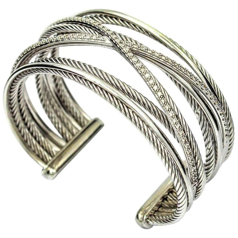 David Yurman Crossover Five Row 14k Gold Sterling Silver Diamond Cuff Bracelet For