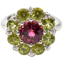 Pink Tourmaline, Peridot and Diamond 14 Karat White Gold Ring