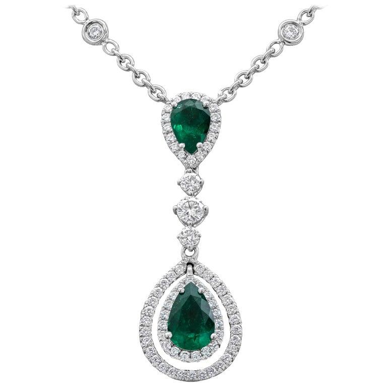 Pear Shape Emerald and Diamond Double Halo Drop Pendant Necklace