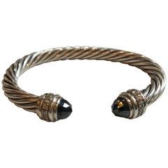 David Yurman Sterling Silver Onyx and Diamond Cable Bracelet