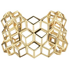 18 Karat Yellow Gold Brillante 'Traforato Cuff Bracelet