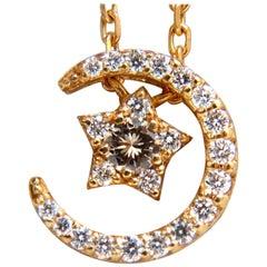 .30 Carat Islam Crescent Star Necklace 18 Karat