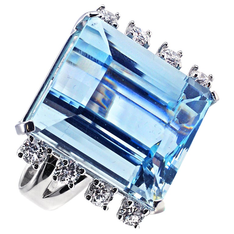 Aquamarine White Gold Diamond Ring