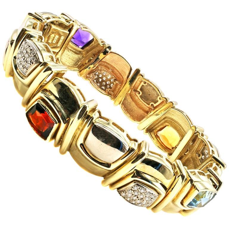 Denoir Amethyst Citrine Aquamarine Garnet Diamond Yellow and White Gold Bracelet