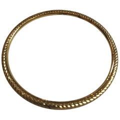 David Yurman Cable and Smooth 18 Karat Yellow Gold Thin Bangle Bracelet