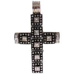 1.00 Carat Natural Diamonds Gothic Cross Pendant