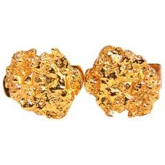 18 Karat Gold Nugget Cufflinks